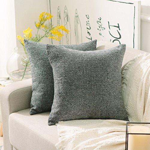 HOME BRILLIANT Square Fall Pillow Cover Decor Supersoft Chenille Velvet Plush Stripes Cushion Covers Decorative, 18x18 inches (45cm), Dark Grey
