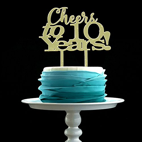 GrantParty Mirror Gold Cheers to 10 Years Cake Topper - Wedding Anniversary Party Decoration Photo Props