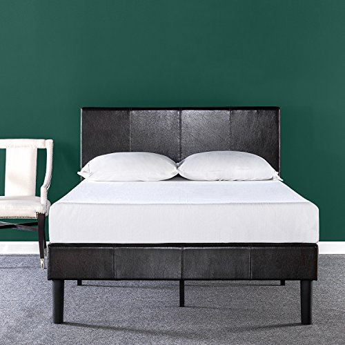zinus deluxe faux leather upholstered platform bed with wooden slats, king