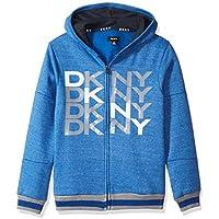 DKNY Boys' Zip Front Snow Marled Fleece Hoody