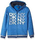DKNY Big Boys' Zip Front Snow Marled Fleece Hoody, Surf The Web, 10/12