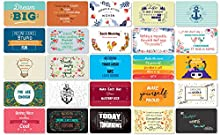 Hearty Cardy 25 Beautiful Designed Full Rich Colored Complimentary Motivational Quote Cards, Thick Stock Paper, Back of Card is Smooth and Matte so you can Write your Personal Message (Mint Edition)