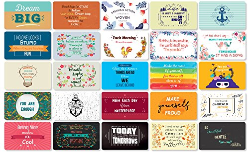 (Hearty Cardy 25 Beautiful Designed Full Rich Colored Complimentary Motivational Quote Cards, Thick Stock Paper, Back of Card is Smooth and Matte so you can Write your Personal Message (Mint Edition))