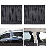 WINOMO 2pcs Side Window Car Sunshades Car Curtains UV Sunshade Drape Window Shield (Black)