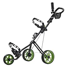 Caddytek CaddyLite 11.5 V2 3 wheel Push Golf Cart (Green) - LIGHTWEIGHT STEEL Frame with Ergonomic Padded ADJUSTABLE HANDLE and COMPACT SIZE - Integrated Umbrella Holder, Beverage Holder and Mesh Net Basket