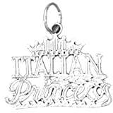 14K White Gold Italian Princess Pendant Necklace - 20 mm