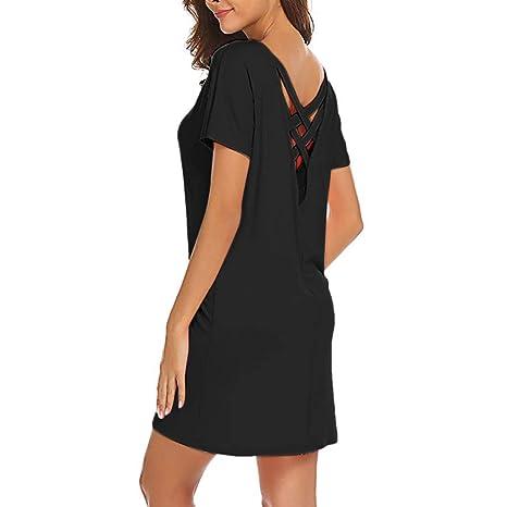 Amazon.com: YKARITIANNA Women Casual Solid Above Knee Dress Sleeve Loose Beach Party Mini Dress