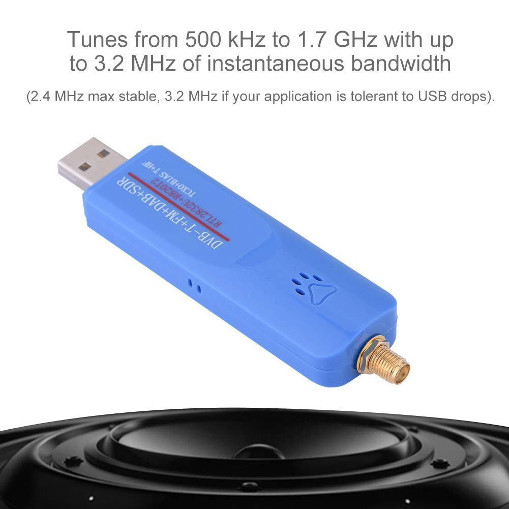 fosa USB2.0 Short Wave SDR RTL-SDR DVB-T FM RTL2832U Built-in HF Mode Digital TV Tuner Receiver Stick//Antenna for Windows//MacOS//Linux//Android