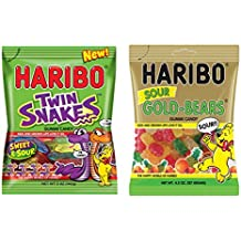 New Haribo Sweet & Sour Twin Snakes Gummi Candy & Haribo Sour Gold-Bears Gummi Candy (2 Packs)