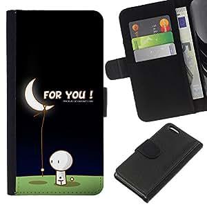 KingStore / Leather Etui en cuir / Apple Iphone 5C / Arte de la luna Amor Hombre Traiga Estrellas Romance Regalo