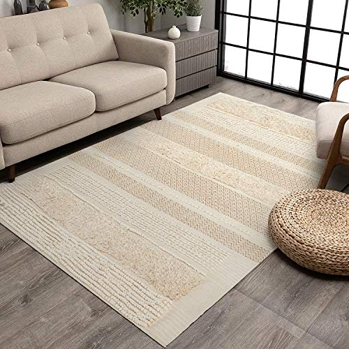 MOTINI Tufted Cotton Area Rug 5′ x 7′, Hand Woven Knotted Boho Shag Rug, Ivory Beige with Gold Metallic Accent Flatweave…