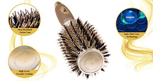 Fagaci Round Brush for Blow Drying with Natural Boar Bristle, Professional Round Hair Brush Nano Technology Ceramic + Ionic for Hair Styling, Drying, Healthy Hair and Add Volume + 4 Styling Clips by Fagaci (Image #2)
