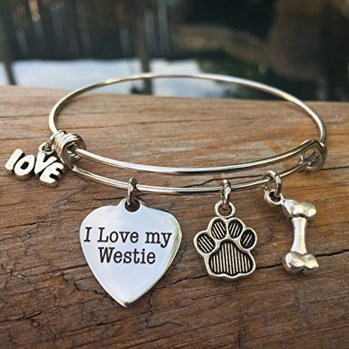 (I Love My Westie Expandable Dog Breed Bracelet for West Highland Terrier)