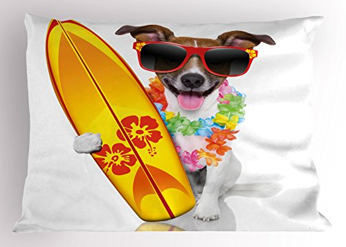 Ambesonne Ride The Wave Pillow Sham, Surfer Puppy with Sunglasses and Tropical Hibiscus Flowers Hawaiian Dog Print, Decorative Standard Size Printed Pillowcase, 26 X 20 inches, Multicolor - Print Hawaiian Bedding