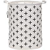 Sea Team 19.7'' Large Sized Waterproof Coating Ramie Cotton Fabric Folding Laundry Hamper Bucket Cylindric Burlap Canvas Storage Basket with Stylish Black Cross Design