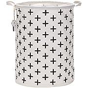 Sea Team 19.7  Large Sized Waterproof Coating Ramie Cotton Fabric Folding Laundry Hamper Bucket Cylindric Burlap Canvas Storage Basket with Stylish Black Cross Design