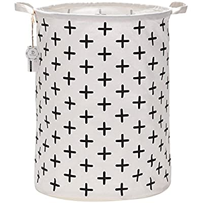 "Sea Team 19.7"" Large Sized Waterproof Coating Ramie Cotton Fabric Folding Laundry Hamper Bucket Cylindric Burlap Canvas Storage Basket with Stylish Black Cross Design - NATURAL MATERIAL: 100% Ramie Cotton Fabric + Waterproof PE Coating Lining AMPLE SIZE: 19.7 in (height) x 15.7 in (diameter)/50 cm (height) x 40 cm (diameter) EASY TO USE: The laundry hamper adopted collapsible design, equipped with handles and only weights 12oz/340g in average. It is lightweight and portable for using, storing, and moving conveniently. - laundry-room, hampers-baskets, entryway-laundry-room - 51uoJBdUTvL. SS400  -"