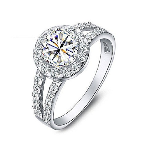 (Uloveido Round Cut Solitaire Synthetic Diamond Rings White Gold Plated Split Shank Engagement Wedding Promise Jewelry (Size 9) J510)
