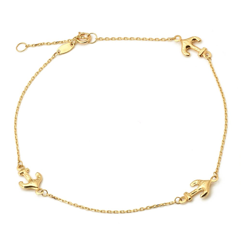 LoveBling 10K Yellow Gold .50mm Diamond Cut Rolo Chain with 3 Anchor pendants Anklet Adjustable 9'' to 10'' (#25)