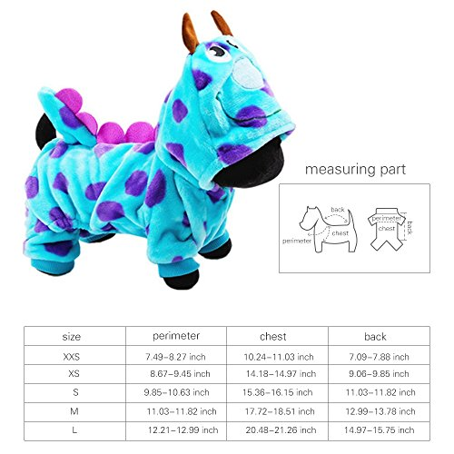 LUCKSTAR Blue Fashionable Pet Supplies Puzzle Bobble Style Pet Flannelette Winter Clothes with Hat Dog Costume Warm Casual Coat Hoodie for Dog (XS) by LUCKSTAR (Image #1)