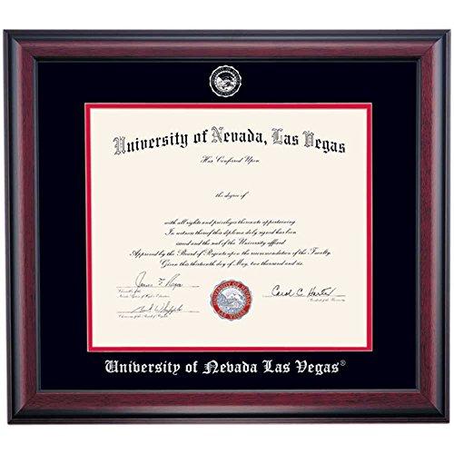 Campus Linens Nevada Las Vegas UNLV Rebels Diploma Frame for Doctorate Black Scarlet Matting Embossed (Nevada Las Vegas Rebels Seal)