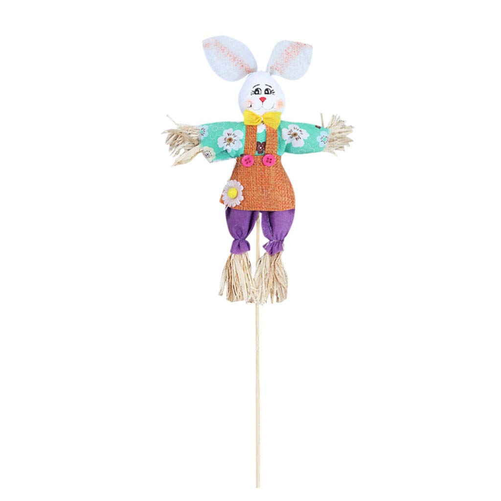 EdC Easter Gift Bunny Wreath Scarecrow, Rabbit Pendant Wall Welcome Door Hanging Ornament Home Decoration Easter Bunny Theme Handheld Scarecrow Non Woven Fabric Straw Materials Toy Props (Purple)
