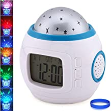 UKnows Sky Star Night Light Projector Lamp Bedroom Alarm Clock With music