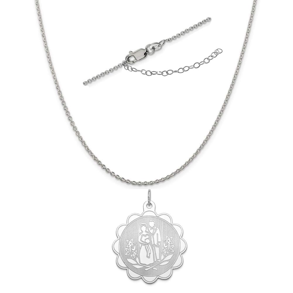 Sterling Silver Anti-Tarnish Treated Bride and Groom Disc Charm on an Adjustable Chain Necklace