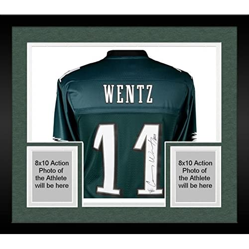 size 40 445a5 acf30 Framed Carson Wentz Philadelphia Eagles Autographed Green ...