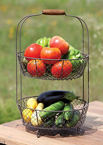 Vintage Style Two Tiered Vegetable Basket Stand- Shabby Chic Country Home Decor