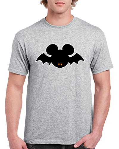 T-Shirts for Men Halloween Costumes Mickey Mouse Bat Disney Men's T-Shirts Round Neck Tee Shirts for Men(Grey,X-Large)