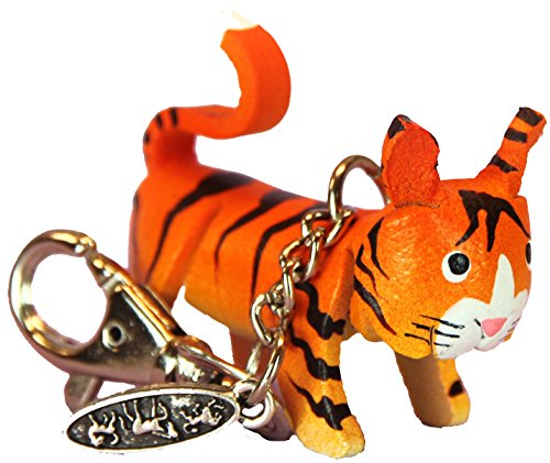 Leather Zipper Pull Charm - Orange Tabby Tiger Cat - Animal Gifts For Women