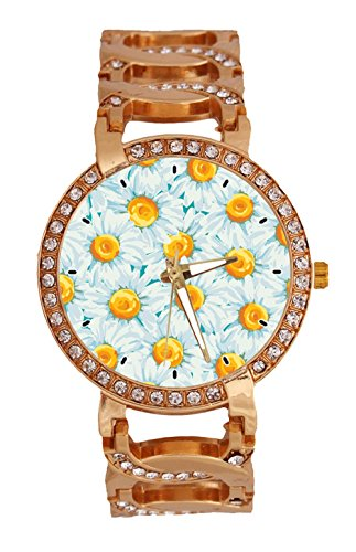 Daisies Flowers Women's Wrist Watch Analog Quartz with Chain Bracelet Band Rose Gold Tone Stainless Steel Lady Dress Watch (Daisy Chain Dress)