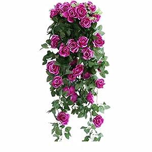 XHSP Artificial Rose Vine Silk Flower Garland Hanging Basket Decorative Plant Home Outdoor Wedding Arch Garden Wall Decor 1
