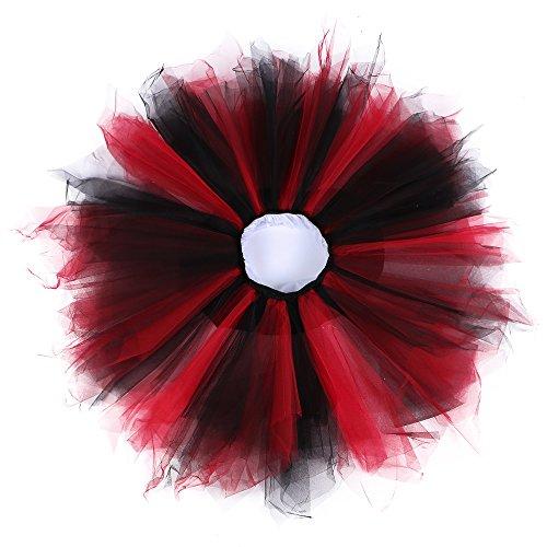 Cleaivy 1950s Vintage Petticoats Crinolines Dance Skirt Adult Rainbow Bubble Tutu Black RED S/M -