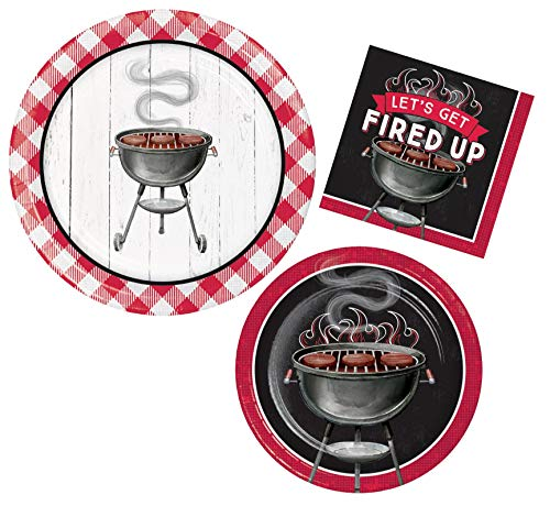 Backyard BBQ Party Supply Pack! Bundle Includes Paper Plates & Napkins for 8 Guests]()