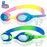 Swim Goggles Kids- 2 Pack Silicone Swimming Goggles Waterproof for Teenagers with Anti-Fog Lenses UV Protection Leakproof Soft Silicone Frame