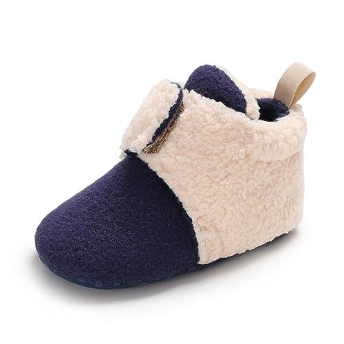 Botas de Bebés Unisexo Botines Invierno Soft Sole Crib Raya de Caliente  Boots de Algodón 0 fa3dc6de0611