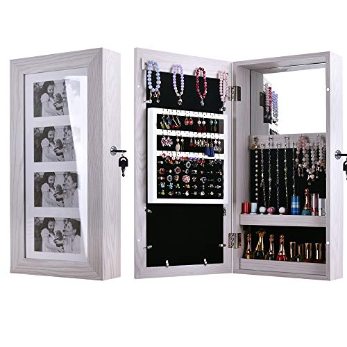 - Acazon Jewelry Armoire Wall Mounted Door Hanging Lockable Cabinet,Villous Render Inside, Cosmetic Makeup Storage Bedroom Organizer, Inside Mirror,US Stock (Small)