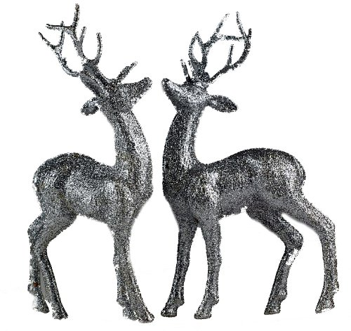set of 2 silver glitter reindeer figurines christmas decorations ornaments amazoncouk kitchen home