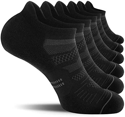 CelerSport 6 Pack Men's Running Ankle Socks with Cushion, Low Cut Athletic Sport Tab Socks