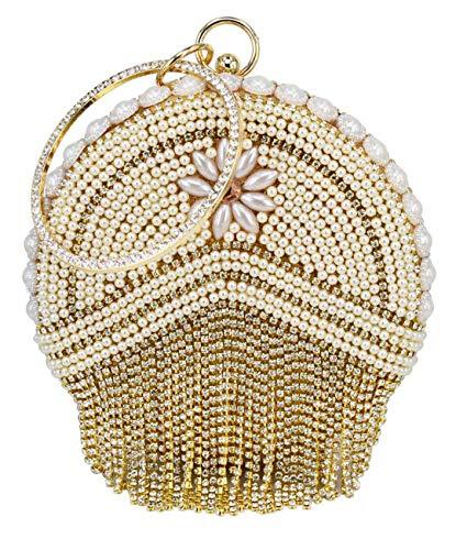 (Gold Ball Diamond Tassel Women Party Metal Crystal Evening Bag Wedding Bag Bridal Shoulder Handbag Light Yellow)