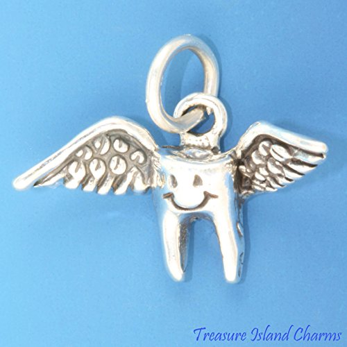 Tooth Fairy Losing First Baby Tooth .925 Sterling Silver Charm Dentist Dental Ideal Gifts, Pendant, Charms, DIY Crafting, Gift Set from Heart by Wholesale Charms