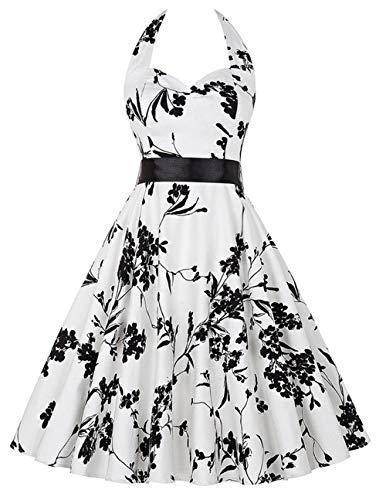 (Smart.A Vintage 1950s Rockabilly Polka Dots Audrey Dress Retro Cocktail Dress(White XX-Large))