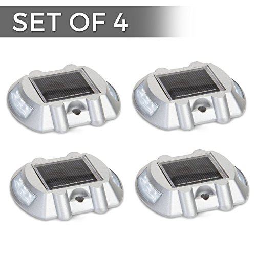 Solar Powered LED Marker Lights- Set of 4- Decorative Aluminum Lamps- Wireless (Lights Electric Brake)