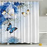Waterproof Polyester Fabric Bathroom Shower Curtain, Qile Mildew-Resistant Anti-Bacterial 3D Digital Printing Pattern Shower Curtains with 12 Ring Hooks, 180 x180cm (Butterflies and Iris Flowers)