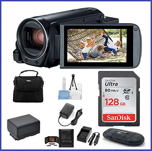 Canon VIXIA HF R800 Full HD Camcorder Bundle, Includes: 128GB SDXC Memory Card, Card Reader, Spare Battery and More.