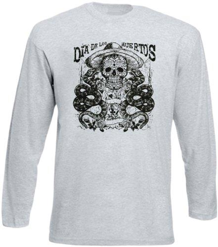 Langarm T-Shirt Dia de los muertos Größe S Farbe grau