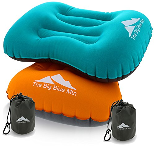 The Big Blue Mtn Ultralight Backpacking Camping Inflatable Pillows 2 Pack Set With Lightweight Compact Pouch Sack And Carabiner - Camp Hiking Summit Gear For Beach Sea Travel Hammock (Orange Blue, 2)