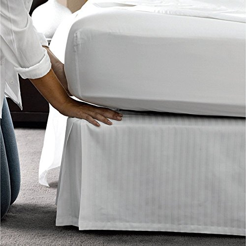 1-PC Tailored Fit Soft and Smooth Easy Fit Queen Bed Skirts 12 Inches Drop Length/Fall Bed Skirt 100% Egyptian Cotton 600 Thread Count White Striped-(Qty-1PC) White Striped Dust Ruffle